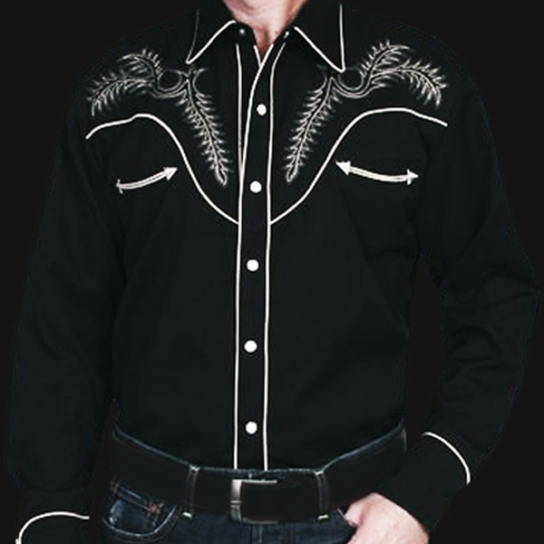 画像1: スカリー ウエスタン刺繍シャツ ブーツステッチ(長袖/ブラック・シルバーグレー)/Scully Long Sleeve Embroidered Western Shirt