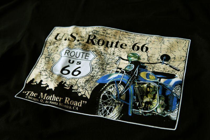 画像2: ルート66 半袖Tシャツ The Mother Road(ブラック)/U.S.Route66 T-shirt