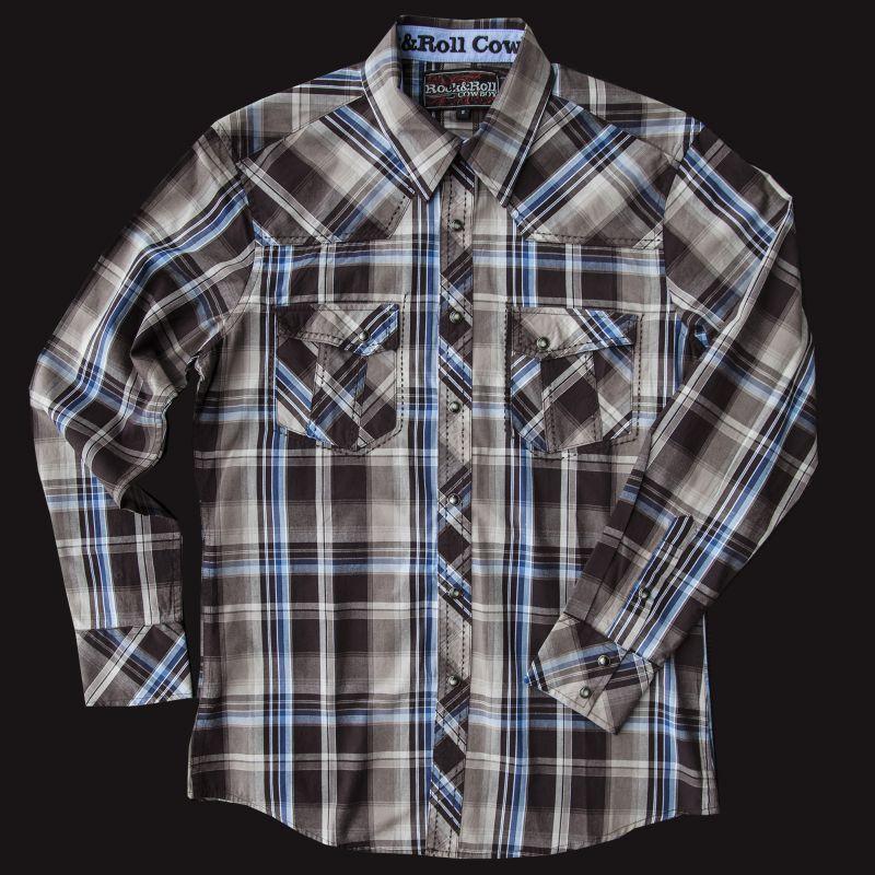 画像1: ロックンロールカウボーイ ウエスタンシャツ ブラウン・ブルー(長袖)/Panhandle Slim Long Sleeve Western Shirt