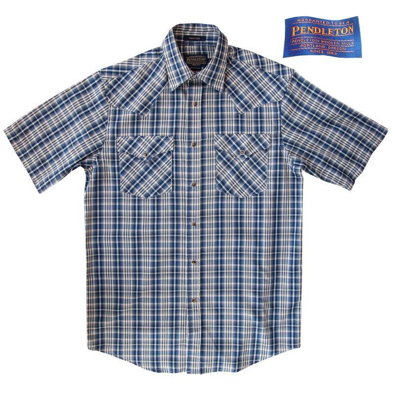 画像1: ペンドルトン 半袖 ウエスタン シャツ ブルー・クリーム/Pendleton Shortsleeve Western Shirt