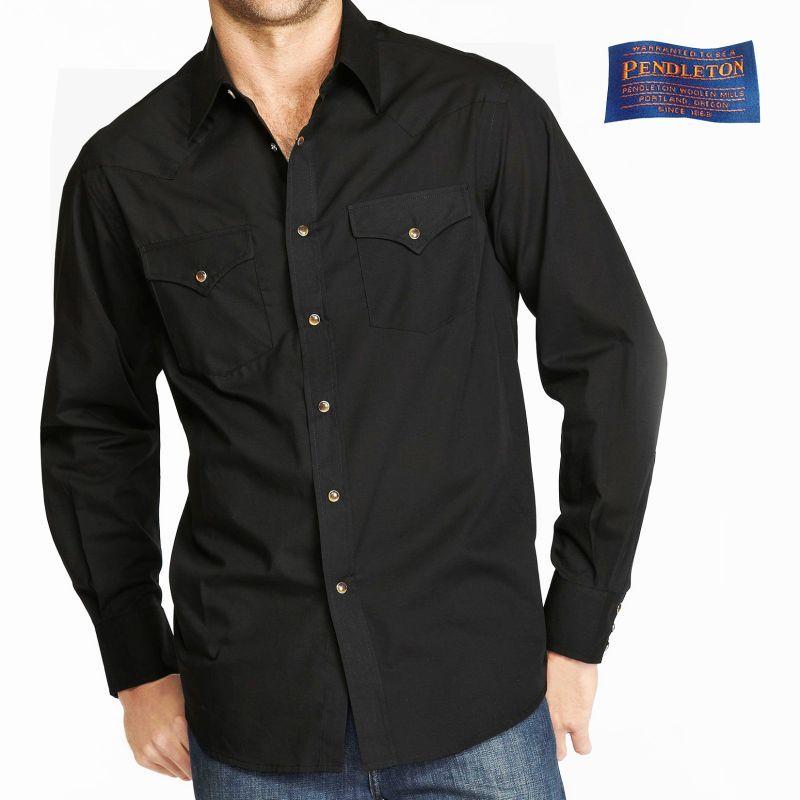 画像1: ペンドルトン 長袖 ウエスタン シャツ ブラック無地/Pendleton Western Shirt Black
