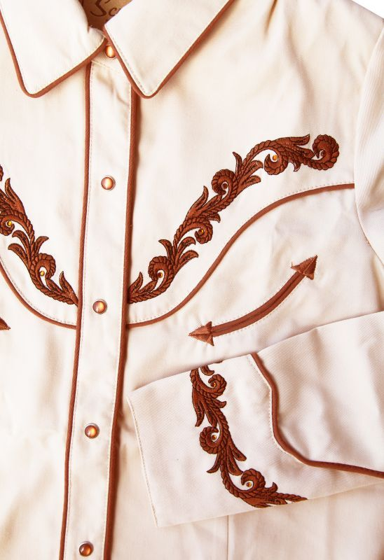 画像2: スカリー 刺繍・ラインストーン ウエスタン シャツ(長袖/クリーム・ゴールド)/Scully Long Sleeve Western Shirt(Women's)