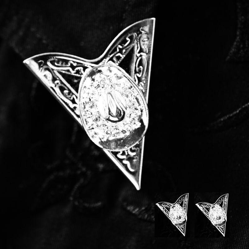画像1: ウエスタン カラーチップ(カウボーイハット・シルバー)/Collar Tips