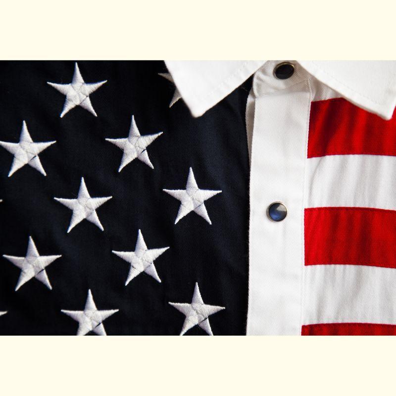 画像2: スカリー USA 刺繍シャツ(メンズ 長袖/アメリカンフラッグ)/Scully Long Sleeve Western Shirt