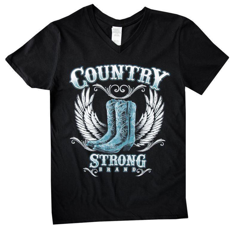 画像1: レディース ウエスタン Tシャツ ウイング・ブーツ ブラック(半袖)/Women's Western T-shirt