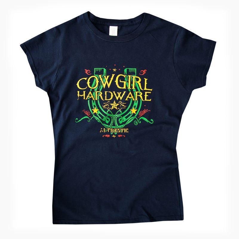 画像1: レディース ウエスタン Tシャツ ラッキーホースシュー ネイビー(半袖)/Women's Western T-shirt