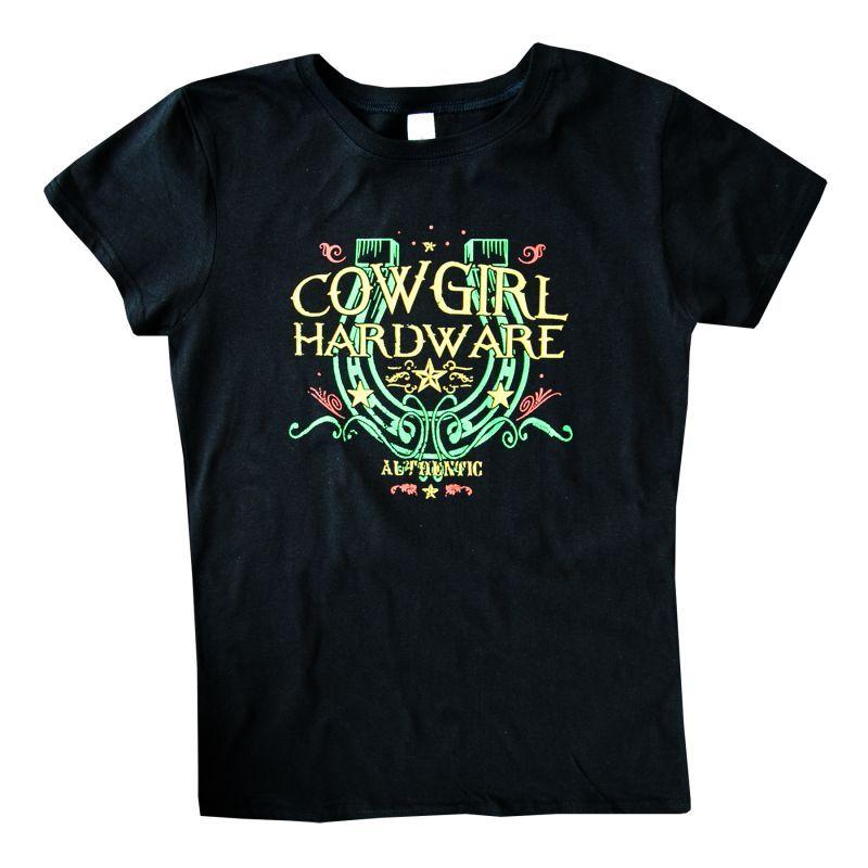 画像1: レディース ウエスタン Tシャツ ラッキーホースシュー ブラック(半袖)/Women's Western T-shirt