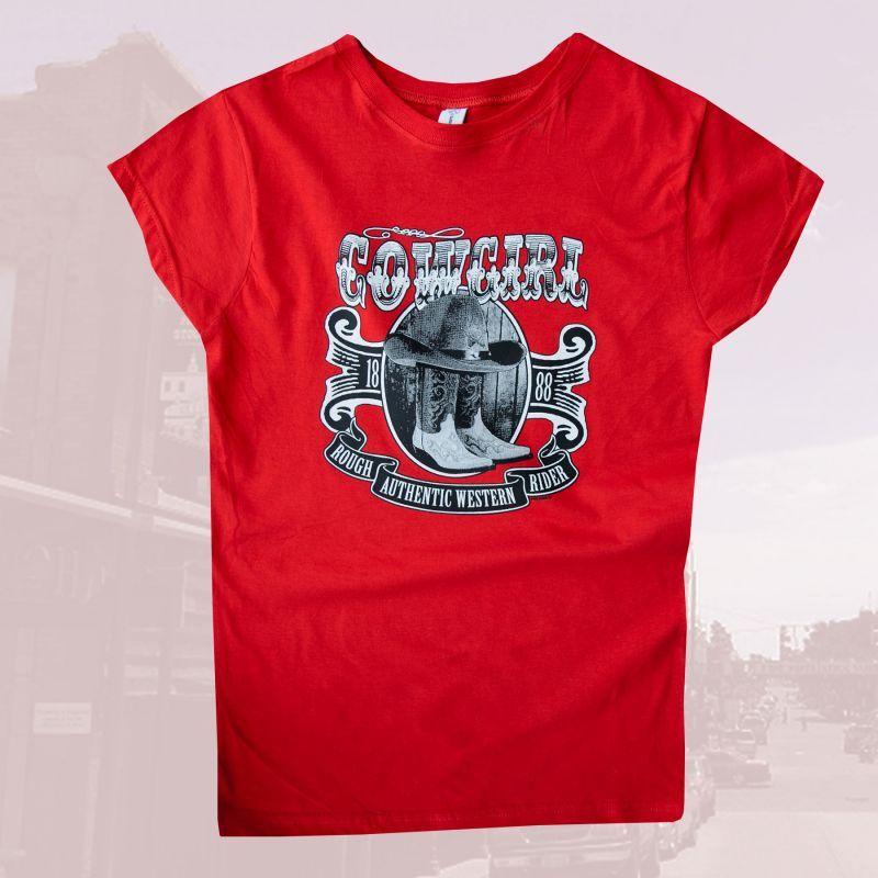 画像1: レディース ウエスタン Tシャツ ダンシングカウガール レッド(半袖)M/Women's Western T-shirt