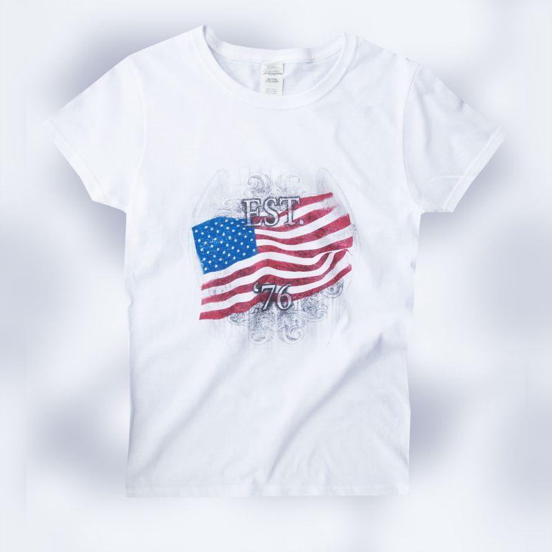 画像1: レディース Tシャツ アメリカンフラッグ ホワイト(半袖)/Women's T-shirt