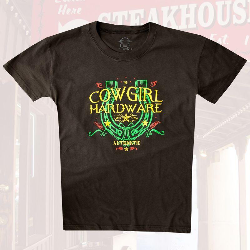 画像1: レディース ウエスタン Tシャツ ラッキーホースシュー ブラウン(半袖)L/Women's Western T-shirt
