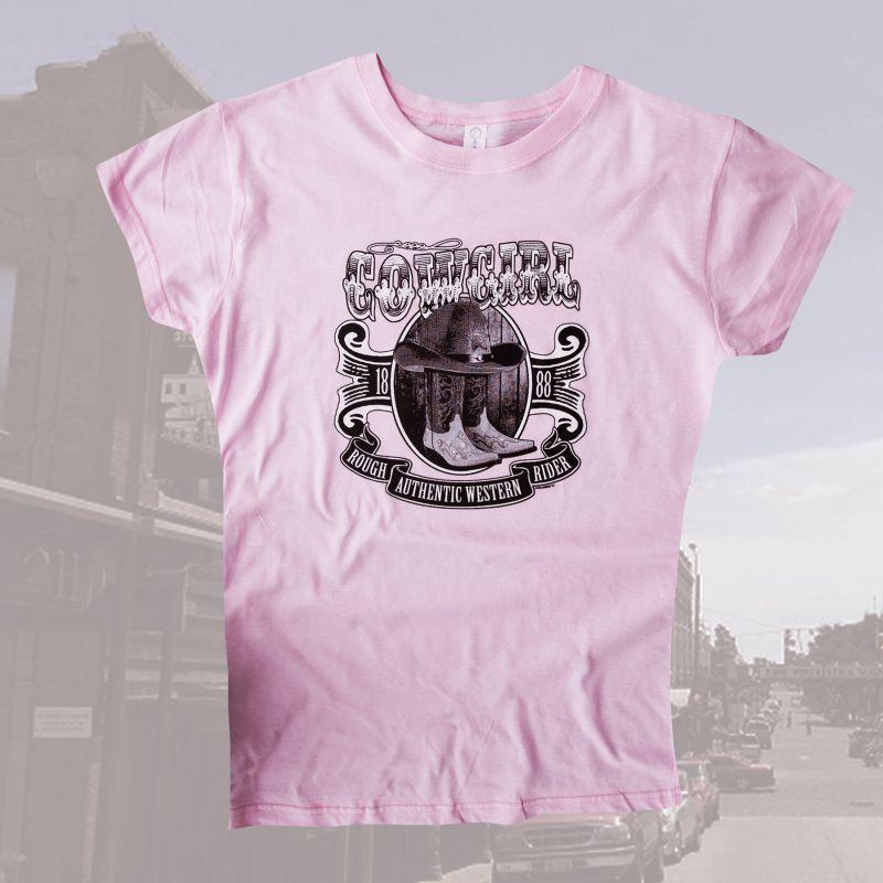 画像1: レディース ウエスタン Tシャツ ダンシングカウガール ピンク(半袖)L/Women's Western T-shirt