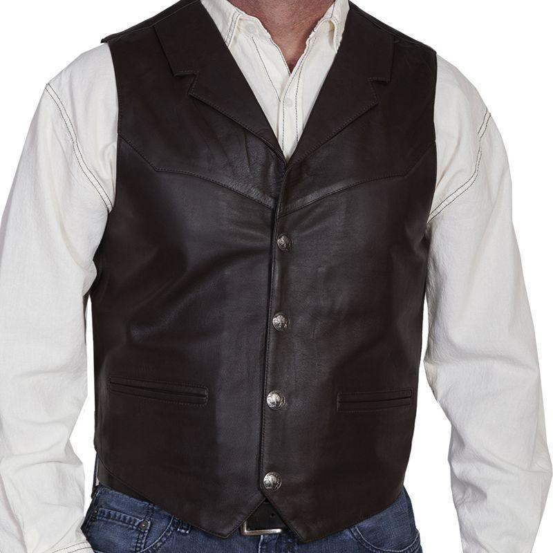 画像2: スカリー バッファロースナップ レザー ベスト(ブラウン)/Scully  Lamb Leather Vest(Brown)
