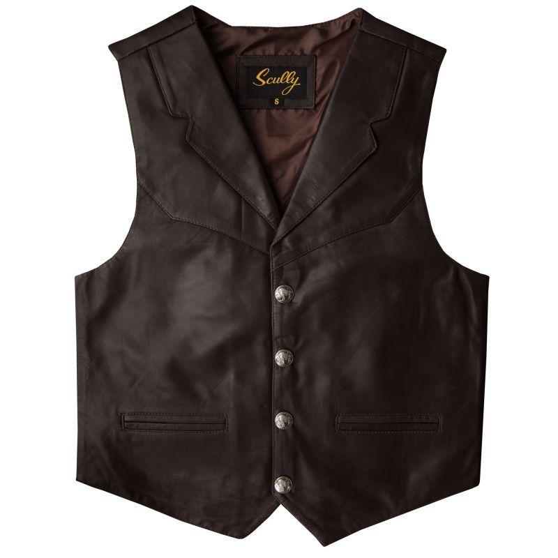 画像1: スカリー バッファロースナップ レザー ベスト(ブラウン)/Scully  Lamb Leather Vest(Brown)