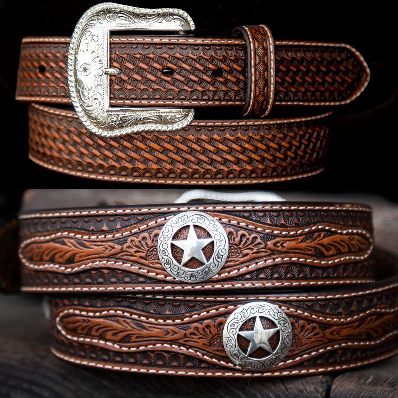 画像1: ウエスタン スター レザーベルト(ブラウン)/Western Leather Belt(Brown)