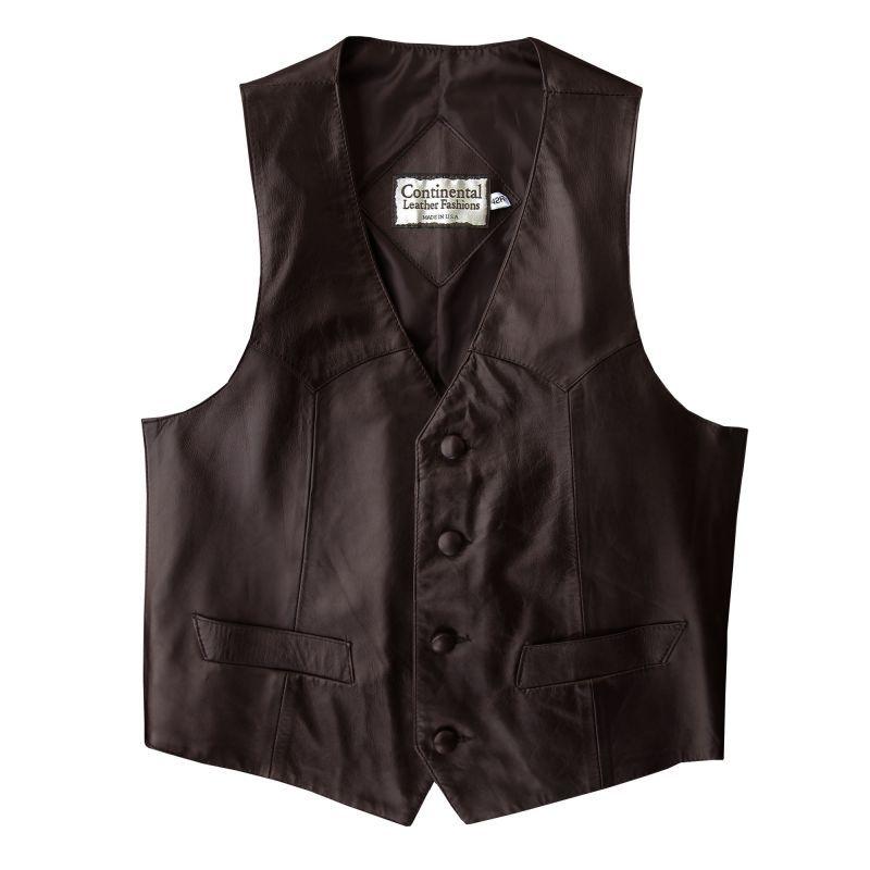 画像1: コンチネンタル レザー ウエスタン レザーベスト(エスプレッソ)/Continental Leather Fashions Western Leather Vest(Espresso)