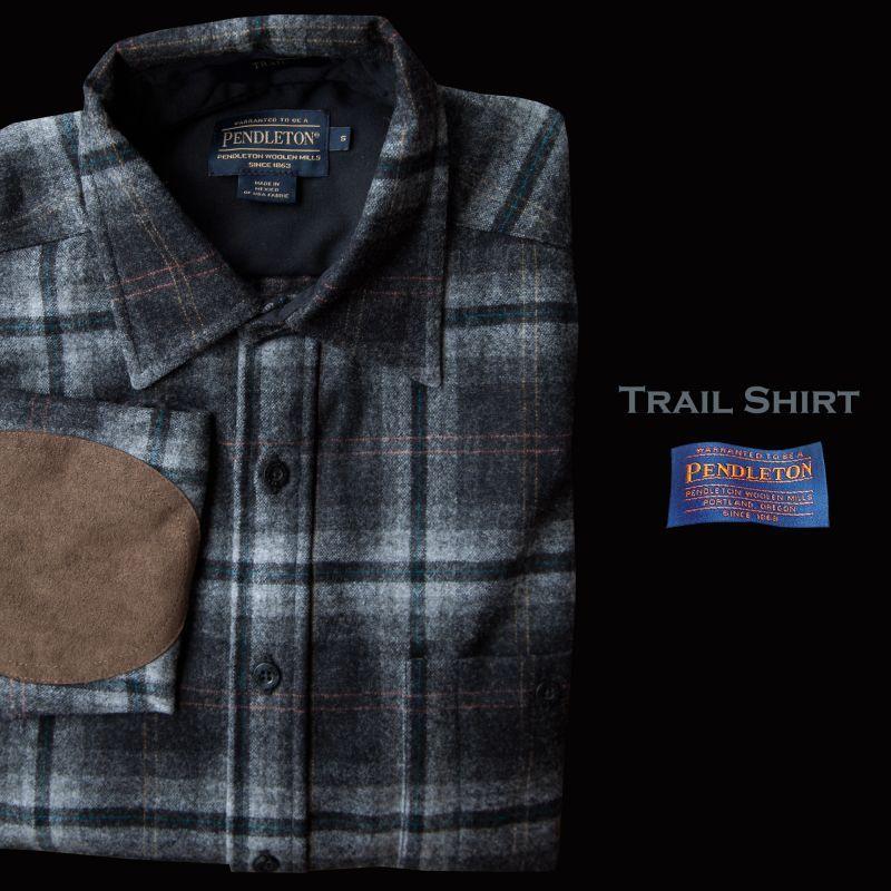 画像1: ペンドルトン ウール シャツ・エルボーパッチ トレイルシャツ グレー ・ブラック プラッド/Pendleton Trail Shirt (Grey Black Plaid)