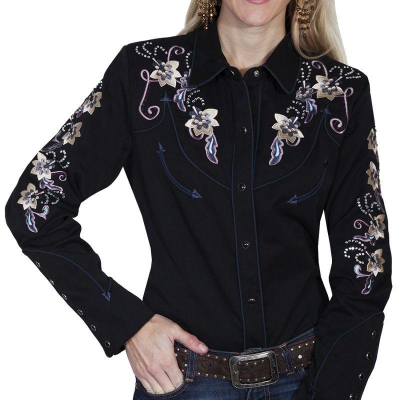 画像1: スカリー フローラル刺繍 ラインストーン ウエスタン シャツ(長袖/ブラック)/Scully Long Sleeve Western Shirt(Women's)