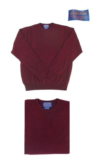 画像1: ペンドルトン クルーネック ウールセーター(バーガンディー)/Pendleton Crewneck Wool Sweater