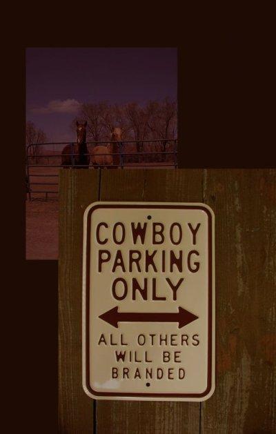 画像1: ウエスタン メタルサイン カウボーイ パーキング オンリー(クリーム)/Metal Sign