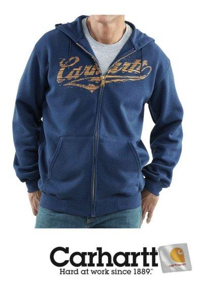 画像1: カーハート Carhartt ロゴ スエットパーカ(ネイビー)M/Carhartt Hooded Sweatshirt