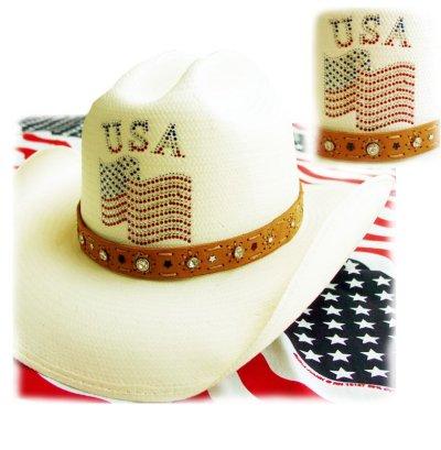 画像1: オンリーインアメリカ レザーバンド ストローハット(ナチュラル)/Western Straw Hat(Only In America)