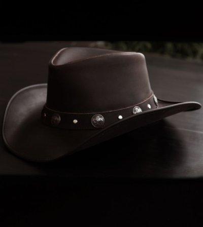 画像1: オイルバッファローレザー レザーバンド バッファローコンチョ アウトバック ハット(ブラウン)/Oiled Buffalo Hide Outback Hat(Brown)