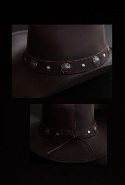 画像2: オイルバッファローレザー レザーバンド バッファローコンチョ アウトバック ハット(ブラウン)/Oiled Buffalo Hide Outback Hat(Brown)