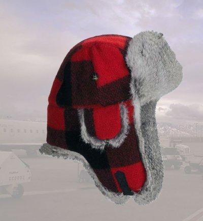 画像1: マッド ボンバー ハット 帽子 (ラビット ファー&ウール  レッド×ブラック=バッファローチェック)/Mad Bomber Hat(Wool)