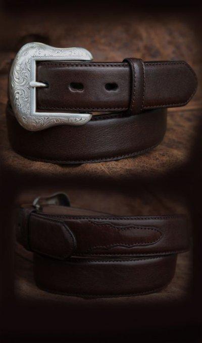 画像1: ウエスタン レザー ベルト ブラウン/Leather Belt(Brown)