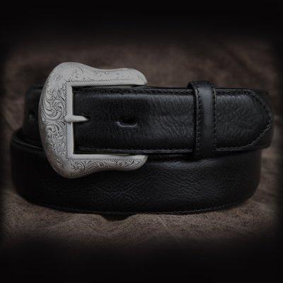 画像1: ウエスタン レザー ベルト ブラック40,42/Leather Belt(Black)