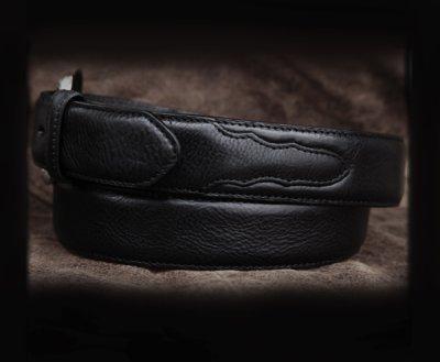 画像2: ウエスタン レザー ベルト ブラック40,42/Leather Belt(Black)