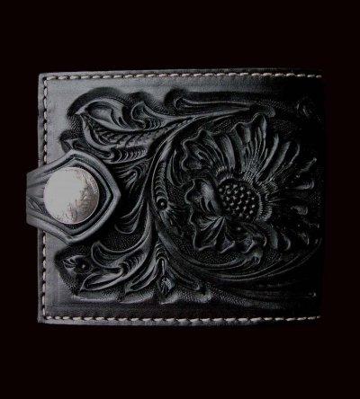 画像1: ファニー コインヘッド ビルフォード ハンドクラフト・Hand Craft(Black)/Funny Coin Head Billfold