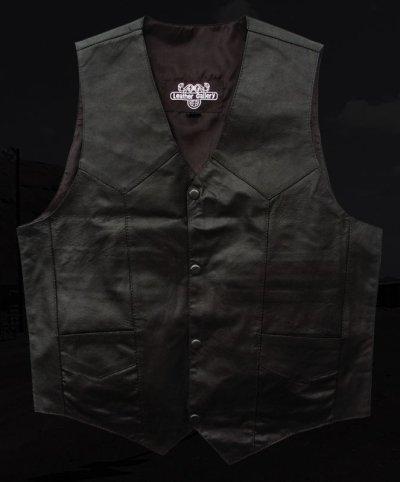 画像1: ウエスタン レザー ベスト(ブラック)/Western Leather Vest(Black)