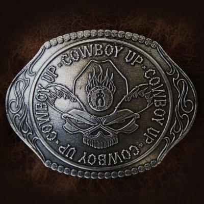画像1: モンタナシルバースミス ラージサイズ ベルト バックル カウボーイアップ/Montana Silversmiths Belt Buckle Cowboy Up Skull