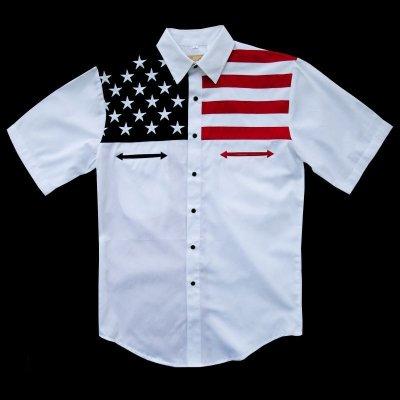 画像1: スカリー USA 刺繍シャツ(メンズ 半袖/アメリカンフラッグ)/Scully Short Sleeve Western Shirt