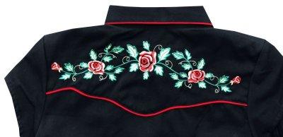 画像3: スカリー ウエスタン 刺繍 シャツ ブラック キャップスリーブXS/Scully Western Shirt(Women's)