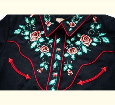 画像2: スカリー ウエスタン 刺繍 シャツ ブラック キャップスリーブXS/Scully Western Shirt(Women's)