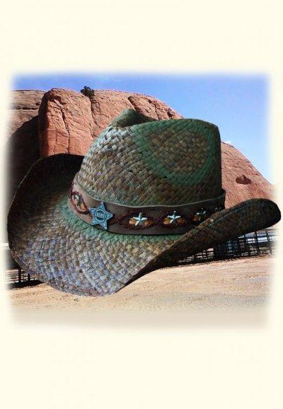 画像1: シェリフ コンチョ&スター ストローハット(オールドタイムブラウン)/Western Straw Hat
