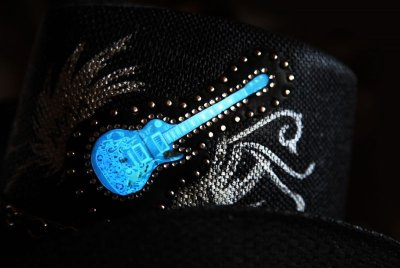 画像3: 光る ロックギター ウエスタンスタイル ストローハット/Western Straw Hat (Black)