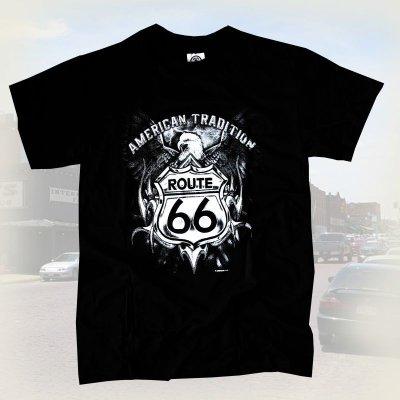 画像1: ルート66 半袖Tシャツ(ブラック・イーグル)/Route 66 T-shirt