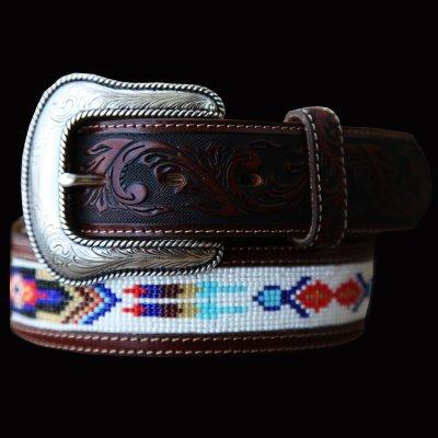 画像1: ジャスティン ビーズベルト(ブラウン)/Justin Pueblo Spirit Belt(Brown)