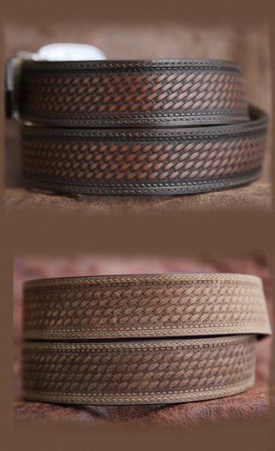 画像3: リバーシブル ウエスタン ベルト(ブラウン&ライトブラウン)/Western  Leather Belt