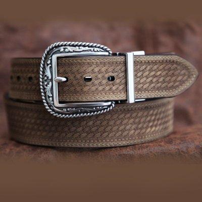 画像2: リバーシブル ウエスタン ベルト(ブラウン&ライトブラウン)/Western  Leather Belt