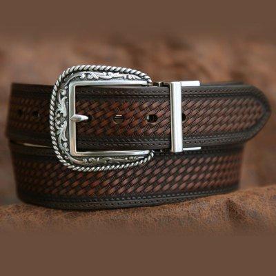 画像1: リバーシブル ウエスタン ベルト(ブラウン&ライトブラウン)/Western  Leather Belt