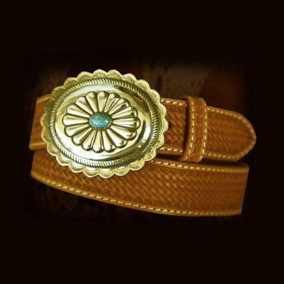画像3: ウエスタン レザー ベルト ブラウン バスケット38/Leather Belt(Basket Brown)