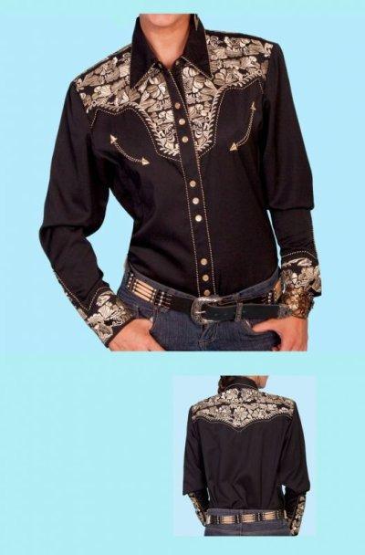 画像1: スカリー 刺繍 ウエスタン シャツ(長袖/ブラック・ゴールド)/Scully Long Sleeve Western Shirt(Women's)