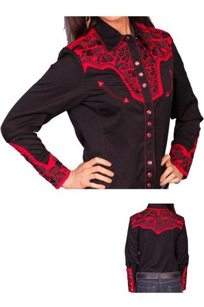 画像1: スカリー 刺繍 ウエスタン シャツ(長袖/ブラック・トマト)/Scully Long Sleeve Western Shirt(Women's)