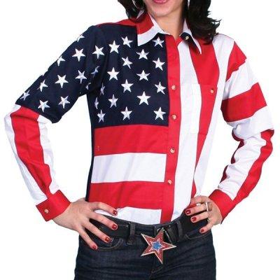 画像1: スカリー USA アメリカ国旗シャツ(長袖/アメリカンフラッグ)/Scully Western Shirt(Women's)