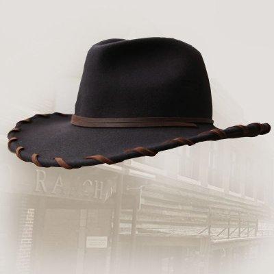 画像1: ベイリー ロウレザー&ウール カウボーイハット(ブラウン)/Bailey Cowboy Hat(Chocolate)