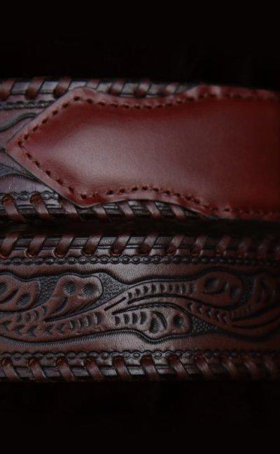 画像3: ウエスタン レザー ベルト(ブラウン)/Leather Belt(Brown)